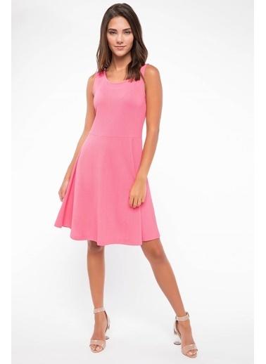 DeFacto Basic Kalın Askılı Elbise Pembe